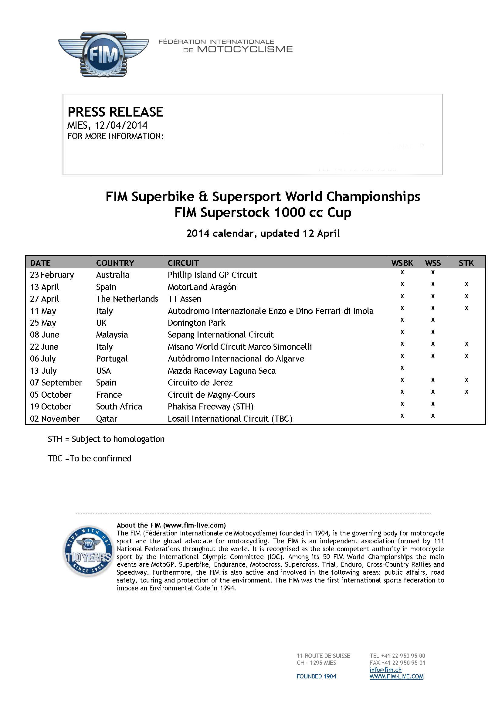 FIM SBK SSP World Champ  Superstock 1000cc Cup - 2014 calendar updated 12 April